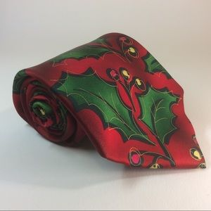 J. Garcia red green Christmas holly tie 60/3.75""